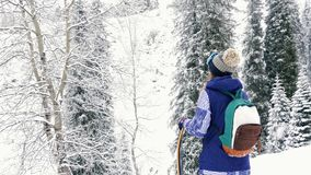 Metragem da aventura da mulher do snowboarder, andando às montanhas nevado dos cumes video estoque