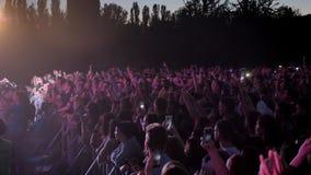 Metragem da multidão que partying no concerto de rocha vídeos de arquivo