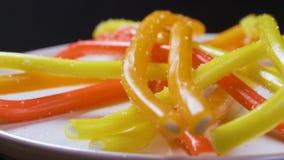 A metragem de doces coloridos saborosos brilhantes da geleia do doce de fruta gerencie vídeo 4K video estoque