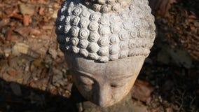 metragem 4k Cara calma e calma da cabeça velha da estátua de buddha da adoração iluminada Estátua da Buda no templo da história d video estoque