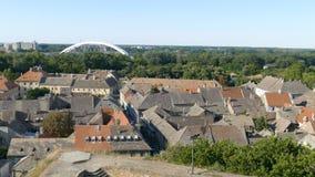 metragem 4K com arquitetura da cidade panorâmico em Novi Sad, Sérvia filme