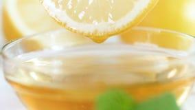 Metragem macro do movimento lento do mel que goteja lentamente da fatia de limão vídeos de arquivo