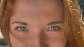 A metragem próxima da mulher bonita do gengibre eyes olhando a câmera, vento ruffling seu cabelo, fêmea encantador do ruivo vídeos de arquivo