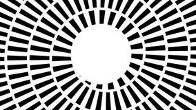 Metragem sem emenda com espiral hipnótica tracejada de giro Dê laços na sequência animado do fundo com segmentos de giro do círcu ilustração stock