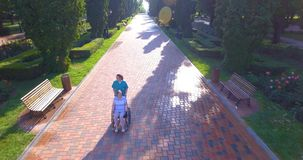 Metraggio aereo del badante che cammina con l'anziano disabile in sedia a rotelle video d archivio