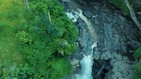 Metraggio aereo di bello paesaggio della cascata, rocce, foresta, fiume della montagna sul mondo di viaggio di Bali Indonesia 4k archivi video