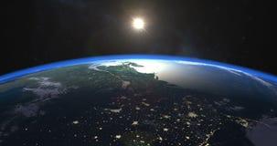 Metraggio perfetto di alba sopra terra illustrazione vettoriale
