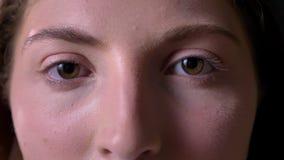 Metraggio vicino degli occhi verdi della giovane donna affascinante che esaminano macchina fotografica, ritratto di bellezza stock footage