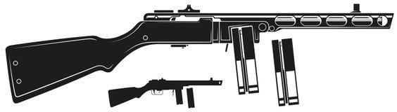 Metralhadora retro gráfica com grampo da munição ilustração royalty free