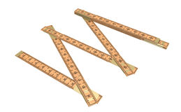 Metre. Carpenter a ruler wooden on a white background Royalty Free Stock Photography