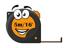 5 metre or 16 foot long tape measure. Vector cartoon illustration of a 5 metre or 16 foot long retractable tape measure with a cute smiley face isolated on white Vector Illustration