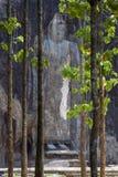 The 15 metre high Buddha statue emerges from woodland at Buduruwagala, near Wellawaya in central Sri Lanka. Stock Images