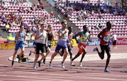800 metres final in the IAAF World U20 Championship in Tampere, Finland 15th July, 2018. royalty free stock images