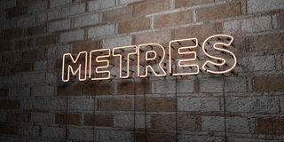 METRES - Glowing Neon Sign on stonework wall - 3D rendered royalty free stock illustration Stock Photos