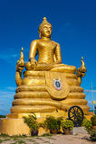 12 metri di grande immagine d'altezza di Buddha, fatta di 22 tonnellate di ottone in Phu Fotografia Stock