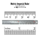 Metric Imperial Rulers Vector. Centimeter And Inch. Measure Tools Equipment Illustration Isolated On White Background. Royalty Free Stock Photography