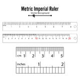 Metric Imperial Rulers Vector. Centimeter And Inch. Measure Tools Equipment Illustration Isolated On White Background. Metric Imperial Rulers Vector. Centimeter Royalty Free Stock Photo