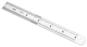 Metric and inch steel ruler Royalty Free Stock Photo