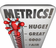 Metrics Thermometer Gauge Measuring Performance Results. Metrics word on a thermometer or gauge measuring performance or results of a marketing campaign, company Stock Photography