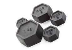 Metrische Gewichte, schräg gelegen, getrennt Stockbild