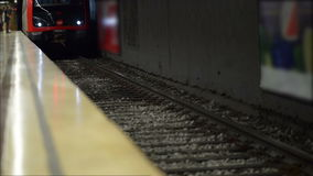 Metro Arrival. In station in Barcelona stock footage