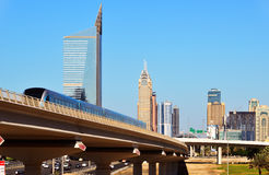 Metro on the background of skyscrapers in Dubai, UAE Royalty Free Stock Photo
