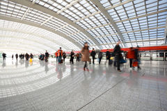 Metro in beijing T3 airport station at people Stock Images