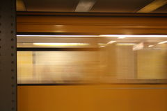The metro in Berlin. The metro driving fast in Berlin Stock Photo
