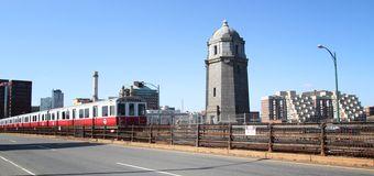 Metro at Boston. Metro boston T crossing Longfellow bridge between cambridge and Boston royalty free stock image