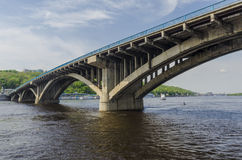 Metro bridge across the Dnieper River in Kiev Royalty Free Stock Images