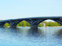 Metro Bridge across Dnipro River in Kyiv Royalty Free Stock Images