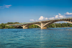 Metro Bridge across Dnipro River in Kyiv Royalty Free Stock Image