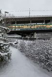 Metro bridge across the Moscow River. Metro and auto bridge Luzhniki across the Moscow River. View from the snow-covered Luzhnetskaya embankment to the Royalty Free Stock Photos