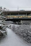 Metro bridge across the Moscow River. Metro and auto bridge Luzhniki across the Moscow River. View from the snow-covered Luzhnetskaya embankment to the Stock Photos