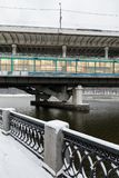 Metro bridge across the Moscow River. View from the snow-covered Luzhnetskaya embankment on the Vorobyovy Gory and the Andreevskaya embankment. The winter city Stock Images
