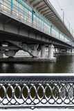 Metro bridge across the Moscow River. View from the snow-covered Luzhnetskaya embankment on the Vorobyovy Gory and the Andreevskaya embankment. The winter city Stock Photos