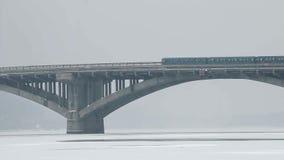 Metro Bridge With Car and Train. Metro Bridge With Car and Metro Train stock video