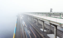 Metro bridge in Kiev in the fog Stock Image