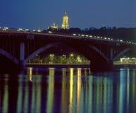 Metro Bridge and Kiev Pechersk Lavra at night Stock Photography