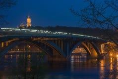 Metro Bridge and Kiev Pechersk Lavra night view Stock Photos