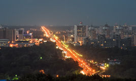 Metro bridge at night in Kiev, Ukraine Royalty Free Stock Photos
