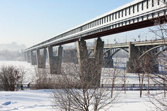 Metro bridge in Novosibirsk, Russia Royalty Free Stock Photos