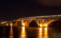 Metro bridge over the Dnieper river in Kiev, Ukraine Royalty Free Stock Image