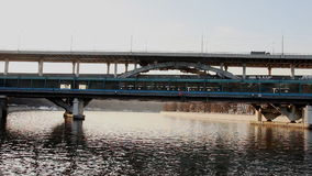 Metro bridge over  moscow river stock footage