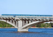 Metro bridge with subway train Stock Photography