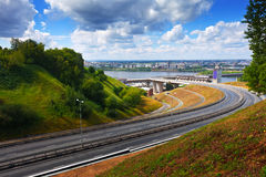 Metro Bridge Through Oka River Royalty Free Stock Photography