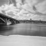 Metro bridge in winter Kyiv city Stock Image