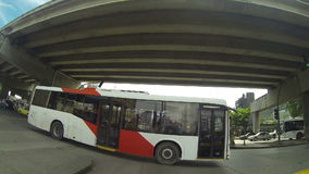 Metro Bus is the new system of massive transport in the area of Panama City in Nov 4, 2013. stock video footage