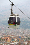 Metro cable and cityscape of Medellin in Colombia. View of metro cable car with passengers with aerial view of the city of Medellin, Colombia 2015 stock images