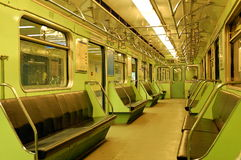 Metro car interior. Budapest, Line 3, Interior of classic subway car in Hungary stock photo